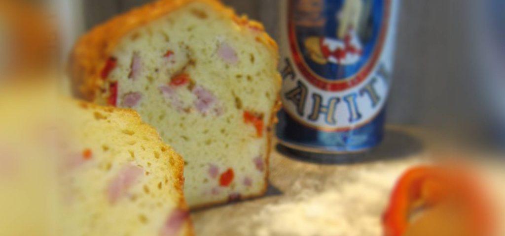 Cake aux poivrons, jambon, Ossau-Iraty et à la bière