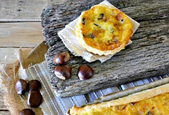 Quiches aux cèpes, giroles et fromage de brebis Ossau-Iraty