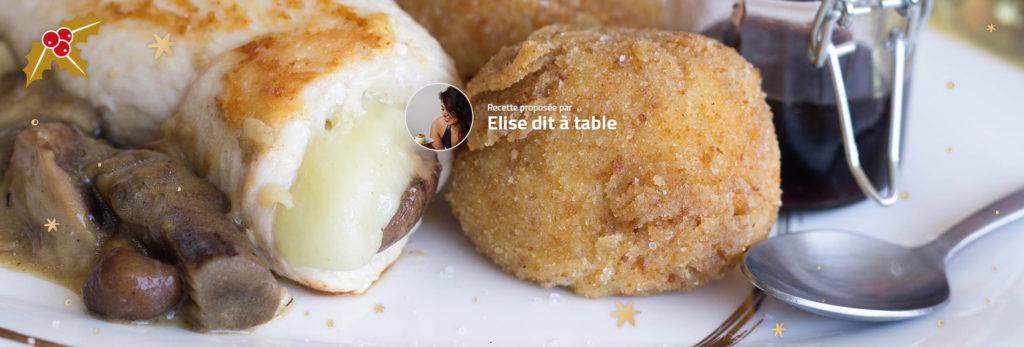 Ballotine de poulet, champignons, Ossau-Iraty et sauce à la cerise